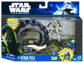 Star Wars 2011 Clone Wars Vehicle & Action Figure Attack Cycle with General Grievous