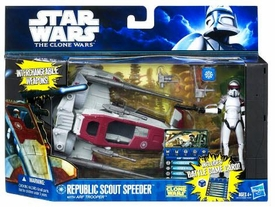 Star Wars 2011 Clone Wars Vehicle & Action Figure Republic Scout Speeder with ARF Trooper