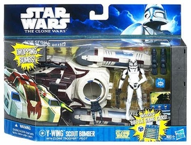 Star Wars 2011 Clone Wars Vehicle & Action Figure Y-Wing Scout Bomber with Clone Trooper Pilot