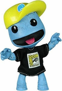 Mezco Toyz Little Big Planet 2011 SDCC San Diego Comic Con Figure Blue Denim Sackboy with Baseball Hat & T-Shirt
