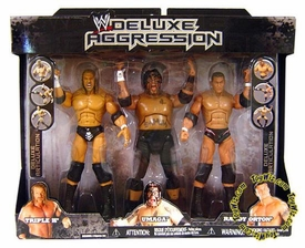 WWE Jakks Pacific Wrestling Exclusive DELUXE Aggression Action Figure 3-Pack Randy Orton, Triple H & Umaga
