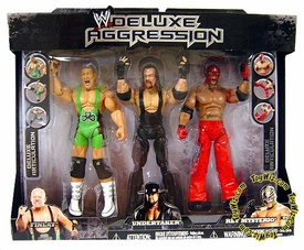 WWE Jakks Pacific Wrestling Exclusive DELUXE Aggression Action Figure 3-Pack Rey Mysterio, Undertaker & Finlay