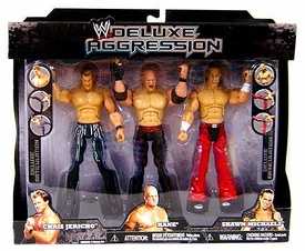 WWE Jakks Pacific Wrestling Exclusive DELUXE Aggression Action Figure 3-Pack Chris Jericho, Kane & Shawn Michaels