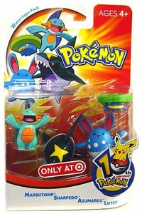 Pokemon Mini Action Figure Set Water Type Pack with Marshtomp, Sharpedo, Azumarill & Lotad