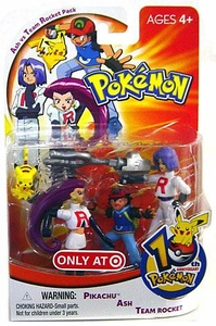 Pokemon Mini Action Figure Set Ash vs Team Rocket Pack [Pikachu, Ash & Team Rocket]