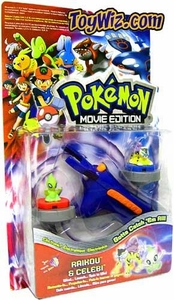 Pokemon Toy Movie Edition Electronic Turbo Tops Launcher with Raikou & Celebi