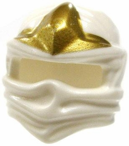 LEGO LOOSE Headgear  White Ninja Wrap with Gold Three Point Star