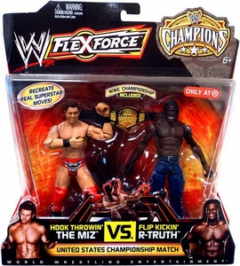 Mattel WWE Wrestling Exclusive FlexForce Champions Action Figure 2-Pack Hook Throwin' The Miz VS. Flip Kickin' R-Truth