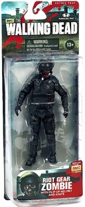 McFarlane Toys Walking Dead TV Series 4 Action Figure Riot Gear Zombie [Flip Up Helmet & Knife]