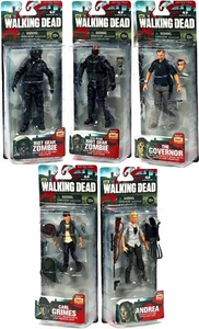 McFarlane Toys Walking Dead TV Series 4 Set of 5 Action Figures [Carl, Andrea, Governor, Riot Gear & Gas Mask Zombies]