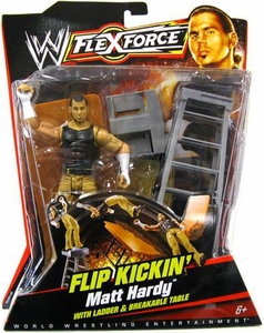 Mattel WWE Wrestling FlexForce Series 1 Flip Kickin' Action Figure Matt Hardy with Ladder & Breakable Table