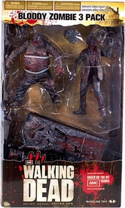 McFarlane Toys Walking Dead TV Action Figure Bloody Zombie 3-Pack [Black & White]