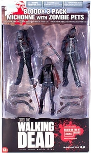McFarlane Toys Walking Dead TV Series 3 Action Figure 3-Pack Bloody Black & White Michonne & Pet Zombies