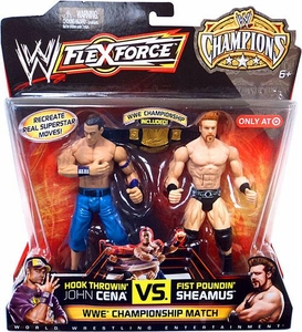 Mattel WWE Wrestling Exclusive FlexForce Champions Action Figure 2-Pack Hook Throwin' John Cena VS. Fist Poundin' Sheamus