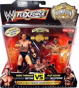 Mattel WWE Wrestling Exclusive FlexForce Champions Action Figure 2-Pack Hook Throwin' Randy Orton VS. Flip Kickin' Rey Mysterio