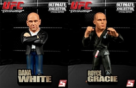 Round 5 UFC Ultimate Collector Set of Both VARIANT Action Figures [Dana White in Jeans & Royce Gracie in Gray Gi]