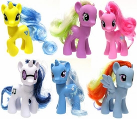 My Little Pony 3 Inch Set of 6 LOOSE Collectible Ponies [DJ Pon-3, Trixie, Rainbow Dash, Pinkie Pie, Lemony Gem & Flower Wishes]