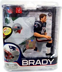 McFarlane Toys NFL Sports Picks Series 27 Action Figure Tom Brady (New England Patriots) Blue Jersey & Short Hair Silver Collector Level Chase Only 1,000 Made!