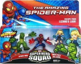 Amazing Spider-Man Super Hero Squad 3-Pack Escape From Lizards Lair [Spider-Man, Gwen Stacy & Lizard]