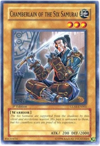 YuGiOh GX Gladiator's Assault Single Card Common GLAS-EN001 Chamberlain of the Six Samurai