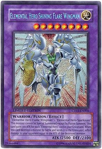 YuGiOh 2006 Collectible Tin Promo Single Card Secret Rare CT03-EN004 Elemental Hero Shining Flare Wingman
