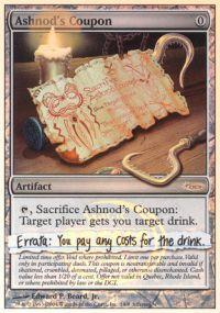 Magic the Gathering Arena Promo Card Ashnods Coupon [Arena Unhinged]