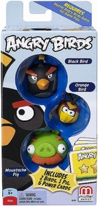 Mattel Angry Birds Mini Figure 3-Pack Black Bird, Orange Bird & Moustache Pig