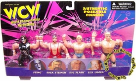 WCW Wrestling Authentic Poseable Figures Set of 4 Figures Sting, Rick Steiner, Ric Flair & Lex Luger Set 1