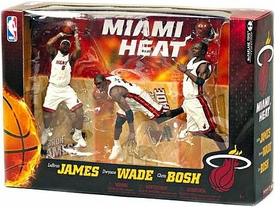 McFarlane Toys NBA Sports Picks Action Figure 3-Pack LeBron James, Chris Bosh & Dwyane Wade (Miami Heat) White Uniforms