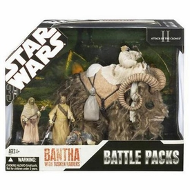 Star Wars 30th Anniversary Saga 2007 Exclusive Attack of the Clones Battle Pack Bantha with Tusken Raiders [Light Fur]