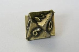 IronDie Single 10-Sided Die D10 Brass Ztark