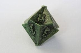 IronDie Single 10-Sided Die D10 Green Ztark