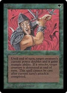 Magic the Gathering Beta Limited Single Card Uncommon Berserk Slightly Played Condition