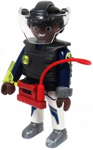 Playmobil LOOSE Mini Figure Male E-Ranger Security / Science Officer 'TM-11' in Armor Breastplate & Faceplate with Belt Attachment [Dark Flesh]