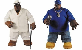 Mezco Toyz Rap Stars Action Figure Notorious B.I.G. Set of 2 Figures [Blue Sweater & White Suit]