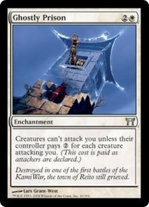 Magic the Gathering Champions of Kamigawa Single Card Uncommon #10 Ghostly Prison Foil!