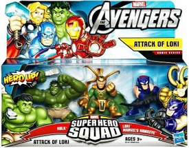 Marvel Avengers Superhero Squad 3-Pack Attack of Loki [Hulk, Loki & Marvel's Hawkeye]