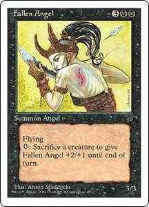 Magic the Gathering Chronicles Single Card Uncommon Fallen Angel Italian Black Bordered Signed by the Artist Slightly Played