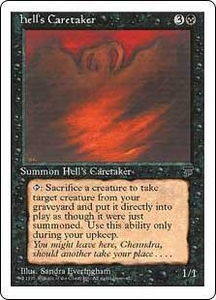 Magic the Gathering Chronicles Single Card Rare Hell's Caretaker Slightly Played Condition