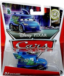 Disney / Pixar CARS Movie 1:55 Die Cast Car DJ with Flames [Tuners 3/10]