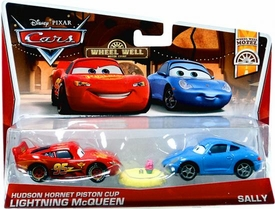 Disney / Pixar CARS Movie 1:55 Die Cast Car 2-Pack Hudson Hornet Piston Cup Lightning McQueen & Sally [Wheel Well Motel 5/11]