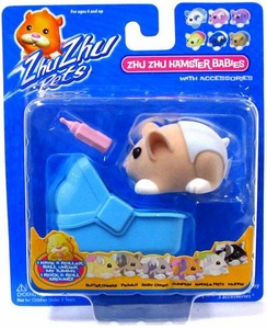 Zhu Zhu Pets Hamster Babies Peanut [Light Brown Baby with Blue Diaper and Carrier]
