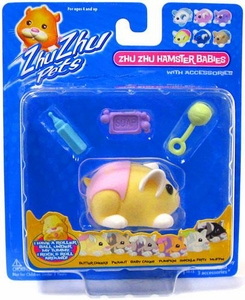 Zhu Zhu Pets Hamster Babies Butter Cheeks [Yellow Baby with Pink Diaper and Rattle]
