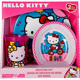 Hello Kitty 3-Piece Mealtime Set [Plate, Bowl & Tumbler] {Bicycle Theme}
