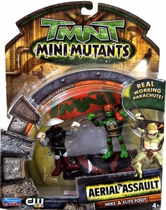 Teenage Mutant Ninja Turtles TMNT Mini Mutants Aerial Assault Mike & Elite Foot