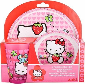 Hello Kitty 3-Piece Mealtime Set [Plate, Bowl & Tumbler] {Strawberry Design}