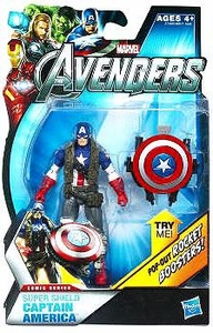 Marvel Avengers Comic 4 Inch Action Figure Super Shield Captain America [Pop Out Rocket Boosters!]