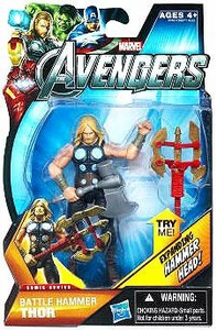 Marvel Avengers Comic 4 Inch Action Figure Battle Hammer Thor [Expanding Hammer Head!]