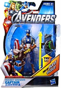 Marvel Avengers Concept 4 Inch Action Figure Rocket Grenade Captain America [Pop Out Blast Shield!]