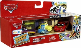 Disney / Pixar CARS Radiator Springs Classic Exclusive 1:55 Die Cast 4-Pack Main Street Spinout [Ramone, Luigi, Guido & Spinout Lightning Mcqueen]